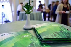 Advertising booklets of Sberbank Royalty Free Stock Photos