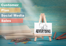 Advertising, business and strategic concept. notice board by the books and money, and notifications.  Royalty Free Stock Images