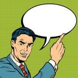Advertising businessman pointing finger. Pop art retro comic drawing illustration Stock Photography