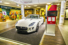 Advertising from a car rental company for a Jaguar F Type ca Royalty Free Stock Photo