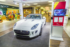 Advertising from a car rental company for a Jaguar F Type ca Stock Photos