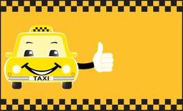 Advertising card cartoon taxi showing thumb up royalty free illustration