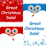 Advertising card great Christmas sale set Santa Claus is surprised  on a blue and red background Royalty Free Stock Photography