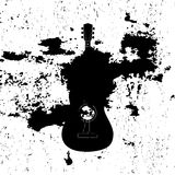 Advertising card with guitar silhouette Royalty Free Stock Photo