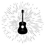 Advertising card with guitar silhouette Stock Photo