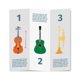 Advertising card with violin, guitar and trumpet Royalty Free Stock Images