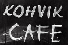 Street cafe chalkboard with text label Royalty Free Stock Images
