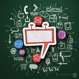 Advertising collage with icons on blackboard Stock Photography