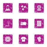 Advertising commerce icons set, grunge style. Advertising commerce icons set. Grunge set of 9 advertising commerce vector icons for web isolated on white Stock Photography