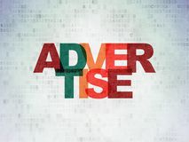 Advertising concept: Advertise on Digital Data Paper background. Advertising concept: Painted multicolor text Advertise on Digital Data Paper background Royalty Free Stock Photo