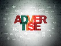 Advertising concept: Advertise on Digital Data Paper background. Advertising concept: Painted multicolor text Advertise on Digital Data Paper background with Royalty Free Stock Photo