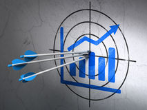 Advertising concept: arrows in Growth Graph target. Success advertising concept: arrows hitting the center of Blue Growth Graph target on wall background, 3d Royalty Free Stock Image