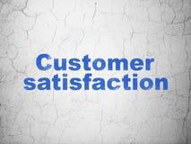 Advertising concept: Customer Satisfaction on wall background. Advertising concept: Blue Customer Satisfaction on textured concrete wall background Stock Photos