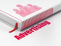 Advertising concept: book Business Team, Advertising on white background. Advertising concept: closed book with Red Business Team icon and text Advertising on Stock Images