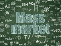 Advertising concept: Mass Market on School board background. Advertising concept: Chalk Blue text Mass Market on School board background with Hand Drawn royalty free illustration