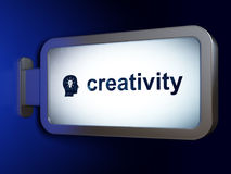 Advertising concept: Creativity and Head With Light Bulb on billboard background. Advertising concept: Creativity and Head With Light Bulb on advertising Royalty Free Stock Photography