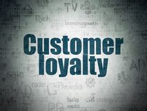 Advertising concept: Customer Loyalty on Digital Data Paper background. Advertising concept: Painted blue text Customer Loyalty on Digital Data Paper background stock image