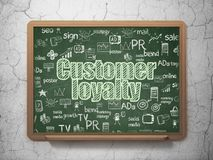 Advertising concept: Customer Loyalty on School board background. Advertising concept: Chalk Green text Customer Loyalty on School board background with  Hand Stock Photos