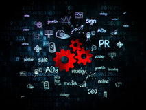 Advertising concept: Gears on Digital background. Advertising concept: Pixelated red Gears icon on Digital background with  Hand Drawn Marketing Icons, 3d render Royalty Free Stock Photos