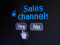 Advertising concept: Growth Graph icon and Sales Channels on digital computer screen. Advertising concept: buttons yes and no with pixelated Growth Graph icon Stock Images