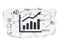 Advertising concept: Growth Graph on Torn Paper. Advertising concept: Painted black Growth Graph icon on Torn Paper background with Scheme Of Hand Drawn Stock Image