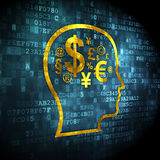 Advertising concept: Head With Finance Symbol on digital backgro Stock Images