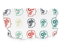 Advertising concept: Head With Gears icons on Torn. Advertising concept: Painted multicolor Head With Gears icons on Torn Paper background, 3d render Stock Photo