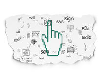 Advertising concept: Mouse Cursor on Torn Paper. Advertising concept: Painted green Mouse Cursor icon on Torn Paper background with Scheme Of Hand Drawn Stock Photography