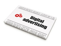 Advertising concept: newspaper with Digital. Advertising concept: newspaper headline Digital Advertising and Gears icon on White background, 3d render Royalty Free Stock Photography