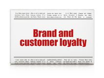 Advertising concept: newspaper headline Brand and Customer loyalty. On White background, 3D rendering Royalty Free Stock Photo