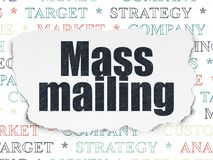 Advertising concept: Mass Mailing on Torn Paper background. Advertising concept: Painted black text Mass Mailing on Torn Paper background with Tag Cloud royalty free illustration