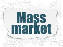 Advertising concept: Mass Market on Torn Paper background. Advertising concept: Painted blue text Mass Market on Torn Paper background with Scheme Of Hand Drawn vector illustration