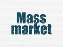 Advertising concept: Mass Market on wall background. Advertising concept: Painted blue text Mass Market on White Brick wall background royalty free illustration