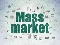 Advertising concept: Mass Market on Digital Data Paper background. Advertising concept: Painted green text Mass Market on Digital Data Paper background with Hand stock illustration