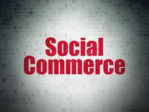 Advertising concept: Social Commerce on Digital Data Paper background Royalty Free Stock Photos