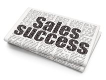 Advertising concept: Sales Success on Newspaper background. Advertising concept: Pixelated black text Sales Success on Newspaper background, 3D rendering stock images