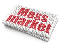 Advertising concept: Mass Market on Newspaper background. Advertising concept: Pixelated red text Mass Market on Newspaper background, 3D rendering vector illustration