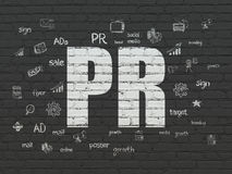 Advertising concept: PR on wall background Royalty Free Stock Image