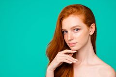 Free Advertising Concept. Profile Side Close-up Portrait Of Nice Cute Royalty Free Stock Images - 132907799