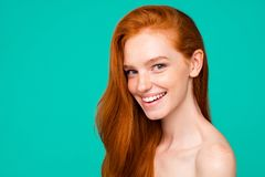 Free Advertising Concept. Profile Side Close-up Portrait Of Nice Cute Stock Image - 132907821