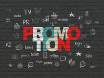 Advertising concept: Promotion on wall background Stock Photography
