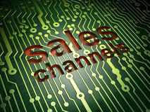 Advertising concept: Sales Channels on circuit board background Royalty Free Stock Photos