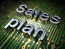 Advertising concept: Sales Plan on circuit board background Stock Image
