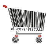 Barcode in the shape of a caddy to symbolize consumption. Advertising concept showing a barcode in the shape of shopping cart symbol of consumption vector illustration