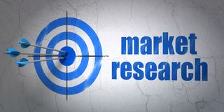 Advertising concept: target and Market Research on wall background. Success advertising concept: arrows hitting the center of target, Blue Market Research on stock image