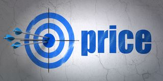 Advertising concept: target and Price on wall background. Success advertising concept: arrows hitting the center of target, Blue Price on wall background, 3D Stock Photo
