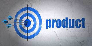 Advertising concept: target and Product on wall background. Success advertising concept: arrows hitting the center of target, Blue Product on wall background, 3D Royalty Free Stock Photography