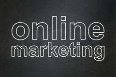 Advertising concept: Online Marketing on chalkboard background Royalty Free Stock Photography
