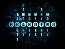 Advertising concept: word Branding in solving. Advertising concept: Pixelated blue word Branding in solving Crossword Puzzle on Digital background, 3d render stock image