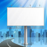 Advertising construction. Blank, realistic  advertising construction on city background Stock Image